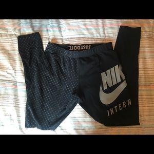 Nike Pants - Nike Black Gray Polka Dot Leggings Medium